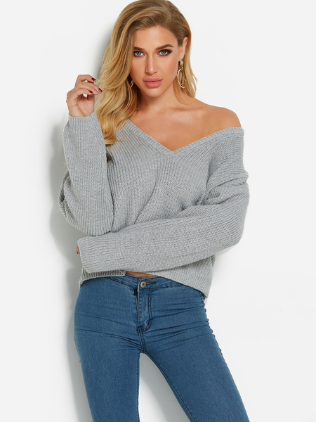 Light Grey Deep V Neck One Shoulder Long Sleeves Sweater