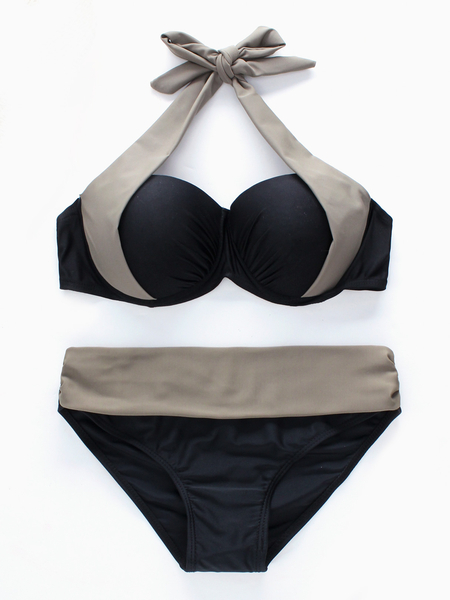 Black and Grey Backless Halter-neck Bikini Set with Padded Chest