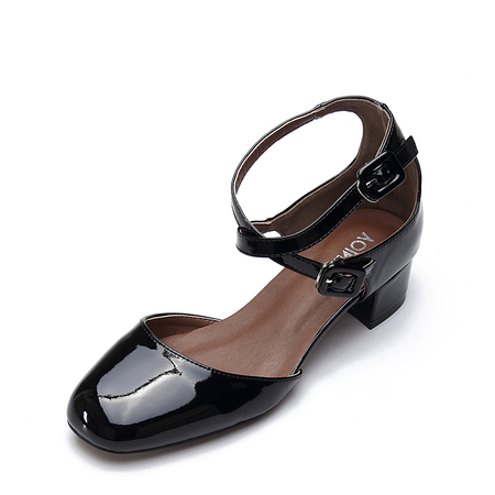 Black Leather Look Heeled Shoes