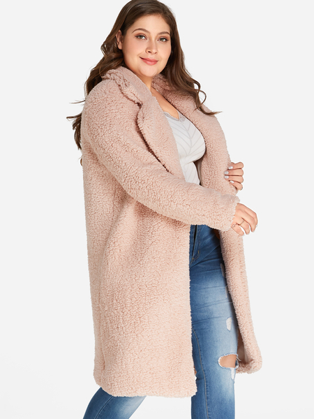 Plus Size Pink Longline Faux Fur Teddy Coat