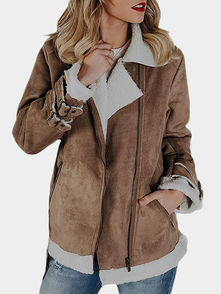 Khaki Faux Leather Plain Lapel Collar Long Sleeves Plush Coat