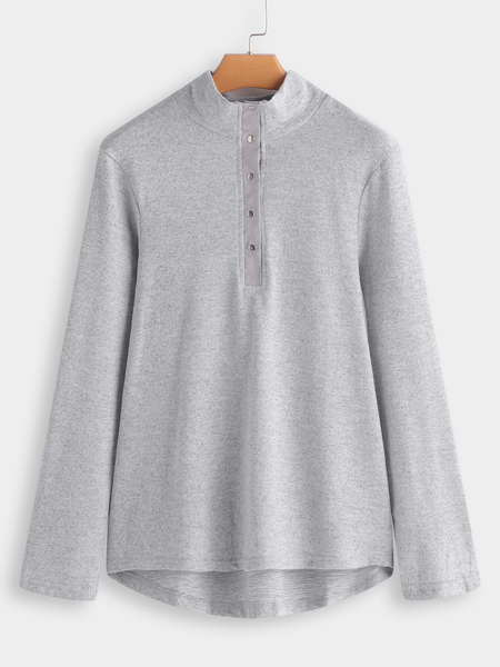 Grey Button Front Crew Neck Long Sleeves T-shirt