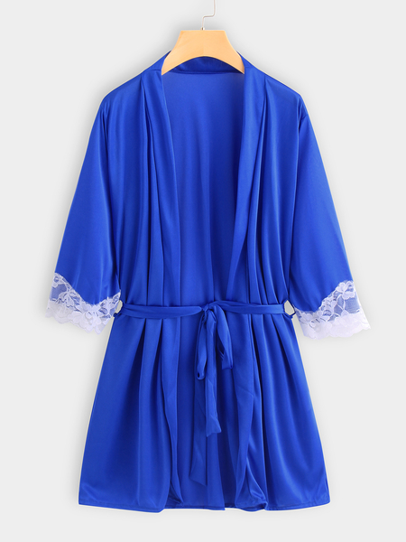 Plus Size Blue Lace Trim Kimono Nightwear Robe