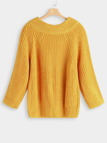 Yellow Plain Off The Shoulder Long Sleeves Loose Fit Sweaters