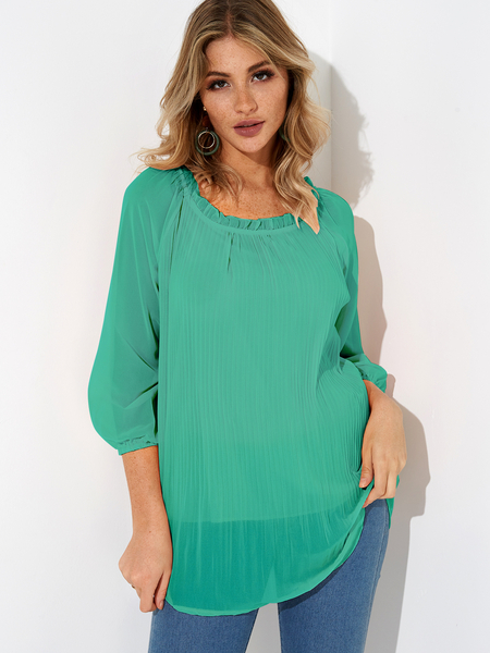 Green Pleated Design Round Neck Long Sleeves Blouse