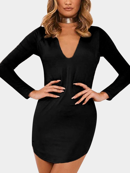 Black Deep V-neck Long Sleeves Curved Hem Mini Dress