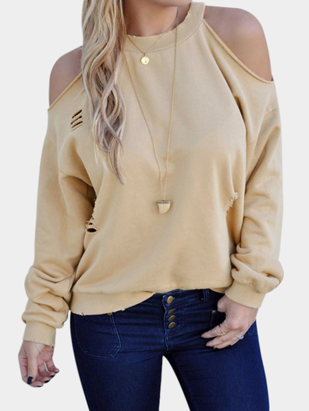 Beige Cut Out Cold Shoulder Long Sleeves Sweatshirt