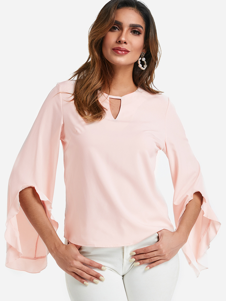 Light Pink Cut Out Plain Crew Neck Flared Long Sleeves Blouses