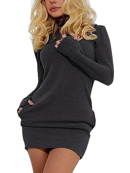 Grey Roll Neck Casual Dress with Two Side Pockets