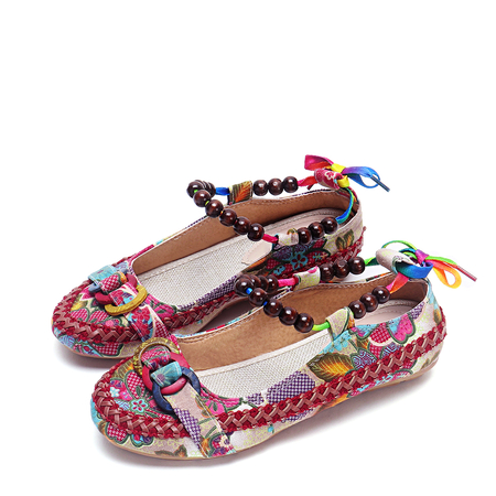 Fashion Floral Printed Beading Design Flats