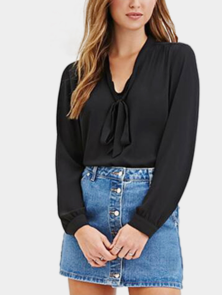 See-through Pleats Back Straps Front Blouse