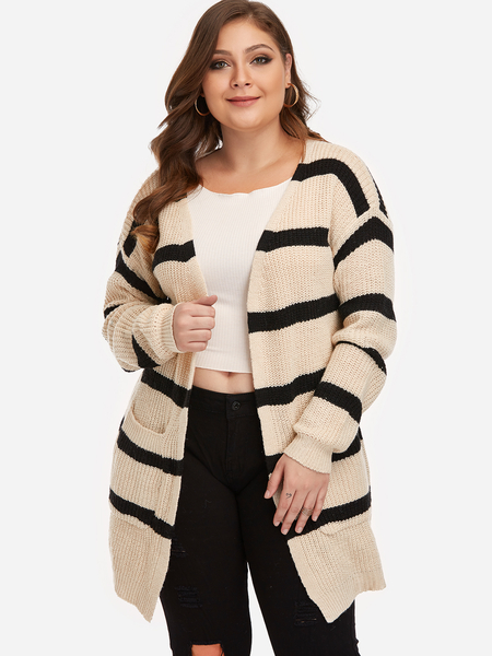 Plus Size Apricot Stripe Pattern Cardigan