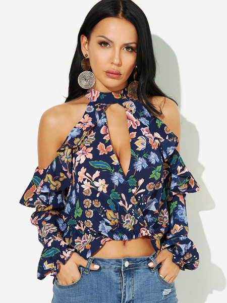 Floral Choker Neck Cold Shouler Keyhole Cutout Ruffle Crop Blouse