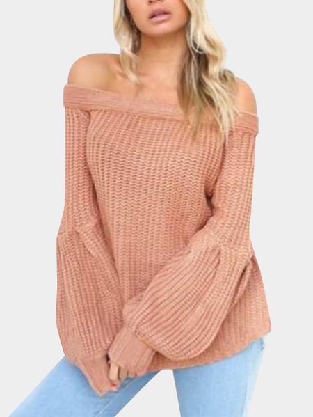 Lotus Pink Off The Shoulder Lantern Long Sleeves Knitted Sweaters