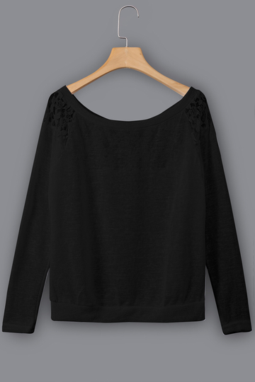 Black Lace Insert Round Neck Long Sleeves Top