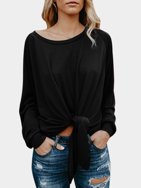 Black Lace-up Design Round Neck Long Sleeves Blouses