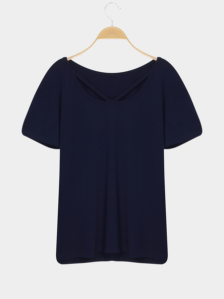 Blue Casual Short Sleeves Strappy V-neck T-shirt