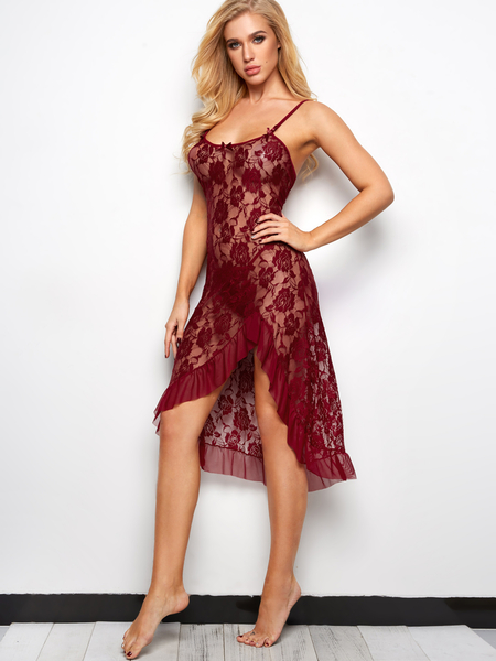 Burgundy Floral Lace Ruffle Asymmetrical Hem Pajamas Sleepwear with G-strings