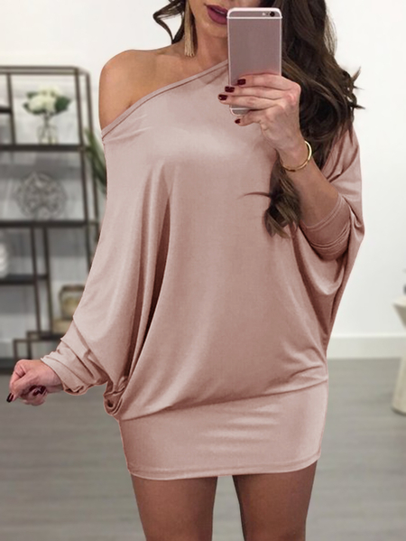 Pink Scoop Neck Bat Sleeves Mini Dress