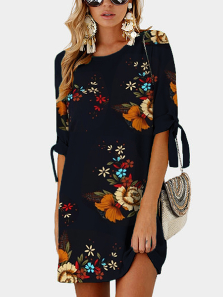 Random Floral Print Self-tie at Sleeves Mini Length Dress