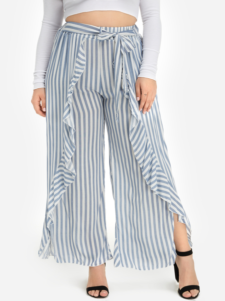 Plus Size Stripe Pattern Ruffle Self-Tie Wide Leg Pants
