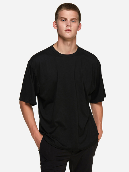 Black Solid Color Crew Neck Short Sleeve Basic Style Men's T-Shirt