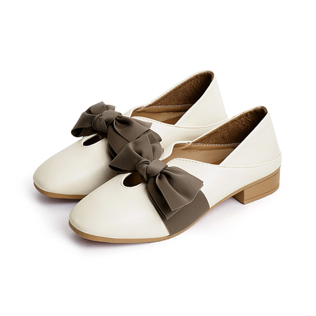 White Bowknot Decoration Mid-chunky Shoes