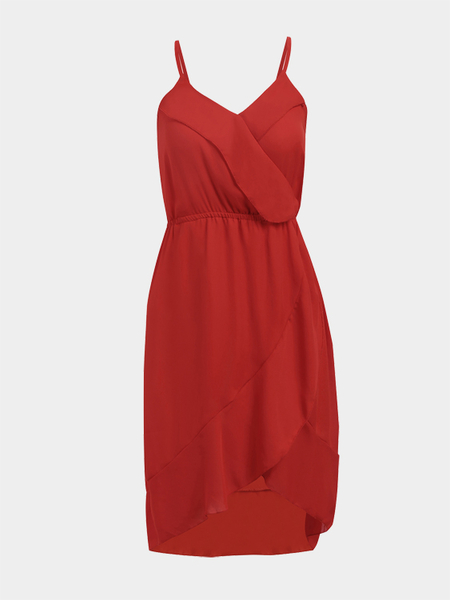 Red Sleeveless Strechable Waistband Chiffon Midi Dress