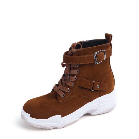Brown Side Zip Design Buckle Casual Boots