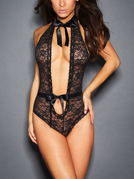 Black Low Cut V-neck Tie-up Criss Cross Lace Teddy Lingerie