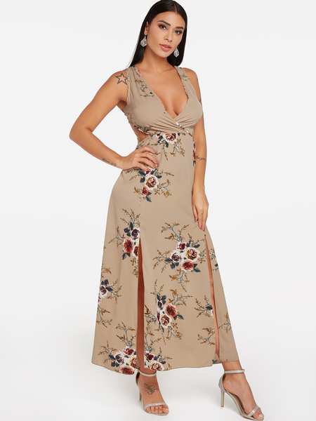 Khaki Backless Design Random Floral Print Self-tie Maxi Dress
