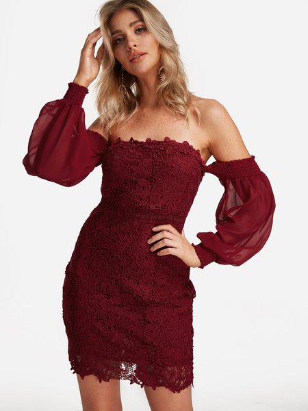 Red Lace Insert Off The Shoulder Lantern Sleeves Bodycon Dress