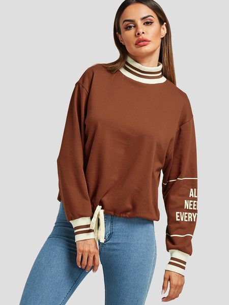 Coffee Stand Collar Long Sleeves Drawstring Sweatshirt