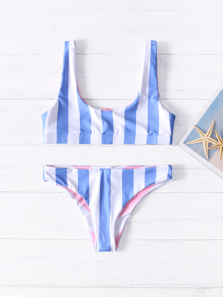 Blue Backless Design Stripe Scoop Neck Sleeveless Bikini