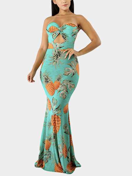 Green Random Floral Print Knotted Front Tube Top Mermaid Dress
