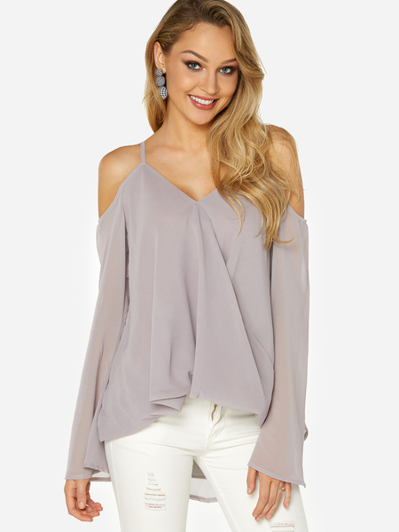 Grey Crossed Front Design Cold Shoulder Parially Lined Top