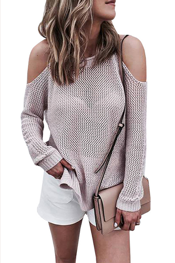 Casual Cold shoulder Long Sleeves Knitwear with Side Slit