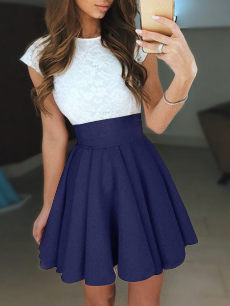 Navy Lace Insert Crew Neck Swing Mini Dresses