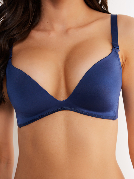 Navy Soft Padded V-neck Push-up Bralette