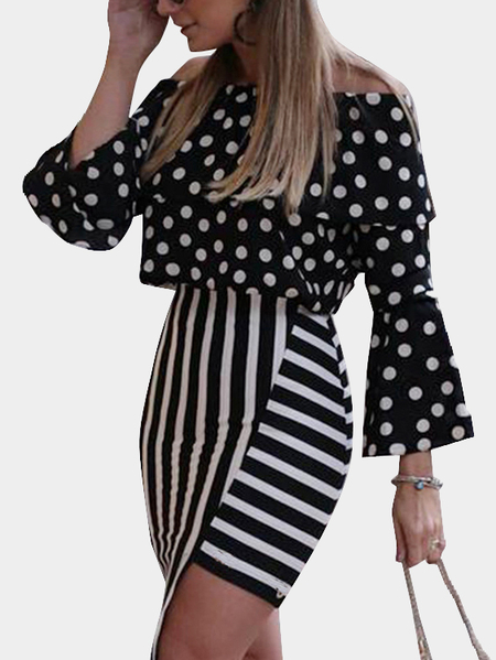 Black Long Sleeves Off Shoulder Top and Stripe Skirt Co-ord