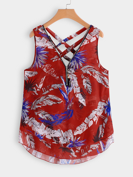 Plus Size Red Criss-cross Leaf Print Zip Front Tank
