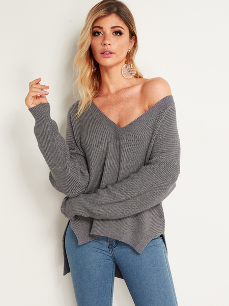 Grey Slit Winter Fashion Women Sweaters