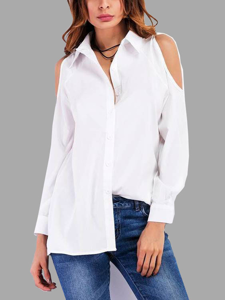 White Pleated Design Cold Shoulder Shirt