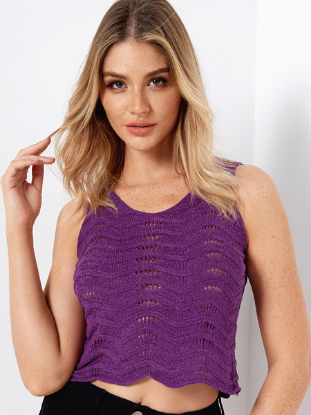 Purple V-neck Knitting Hollow Design Tank Top