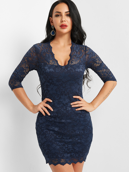 Navy See Through Design Lace Dress With Lining