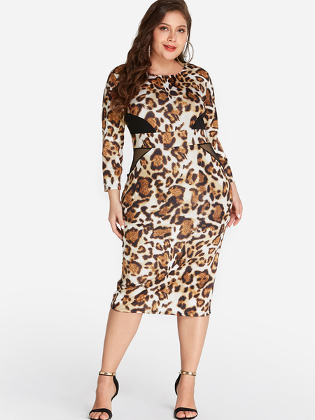 Plus Size Leopard Midi Dress