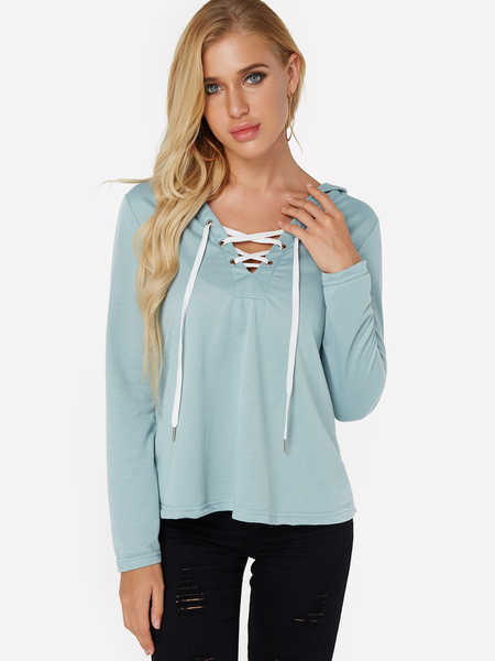 Green Deep V-neck Lace-up Design Long Sleeves Hoodie