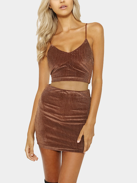 Brown Sexy V-neck Top & Mini Length Skirt Bodycon Co-ord