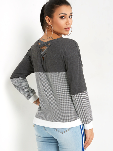 Grey Color Block Lace-up Back Design Plain Round Neck Long Sleeves Stripe Sweaters