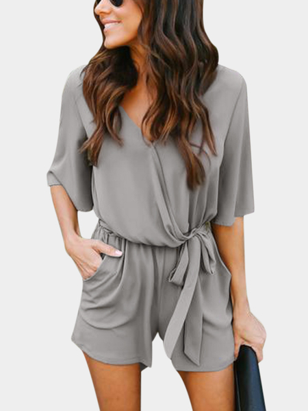 Grey Crossed Front Design V-neck 3/4 Length Flared Sleeves High-waisted Playsuit